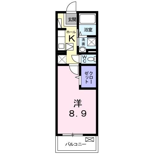 クレメント B 01060号室の間取り