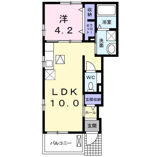 アパートメントこころ 01010号室の間取り