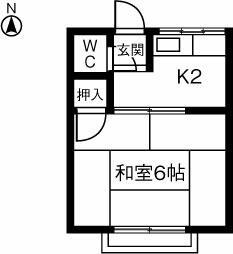 本山アパ-ト 202号室の間取り
