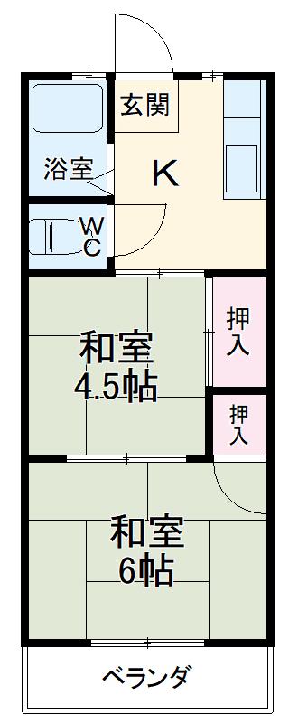 アパート・グロリア 202号室の間取り