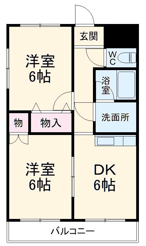 篠原橋マンション 6A号室の間取り