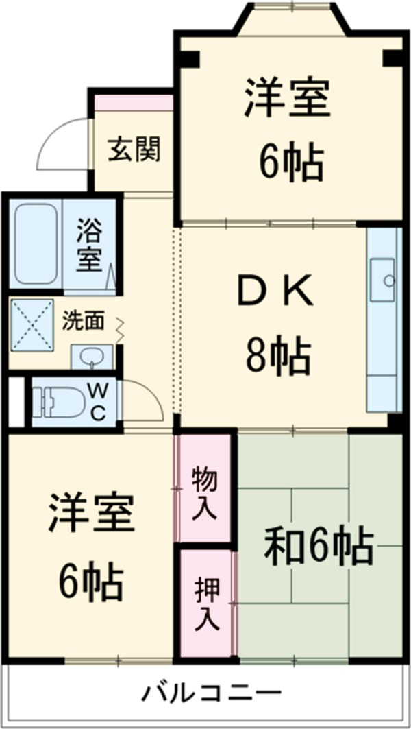 第1サンハイツ戸崎 203号室の間取り