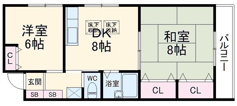 コーポカサハラ 401号室の間取り