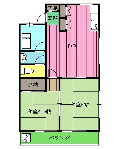 第2オパールマンション 13号室の間取り