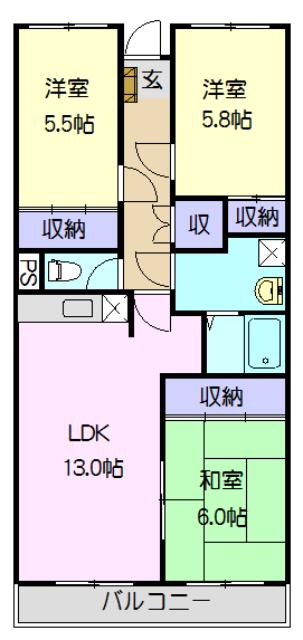 エルハイム岡崎 207号室の間取り