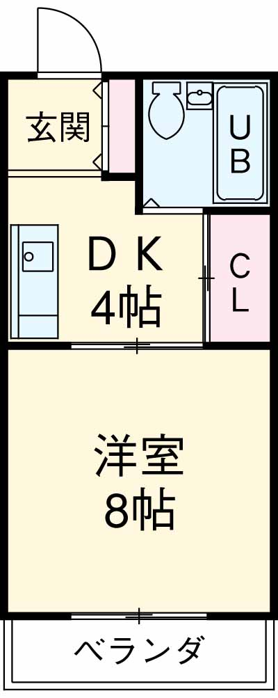 山田コーポA 103号室の間取り