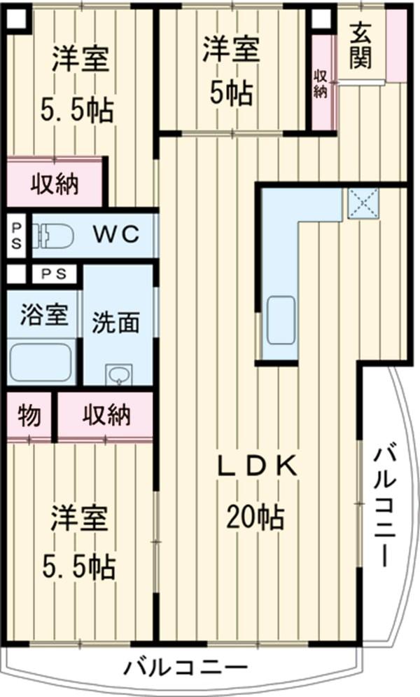 VIPロイヤル氷川台 503号室の間取り