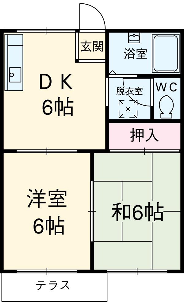 サンシャイン石田 A203号室の間取り