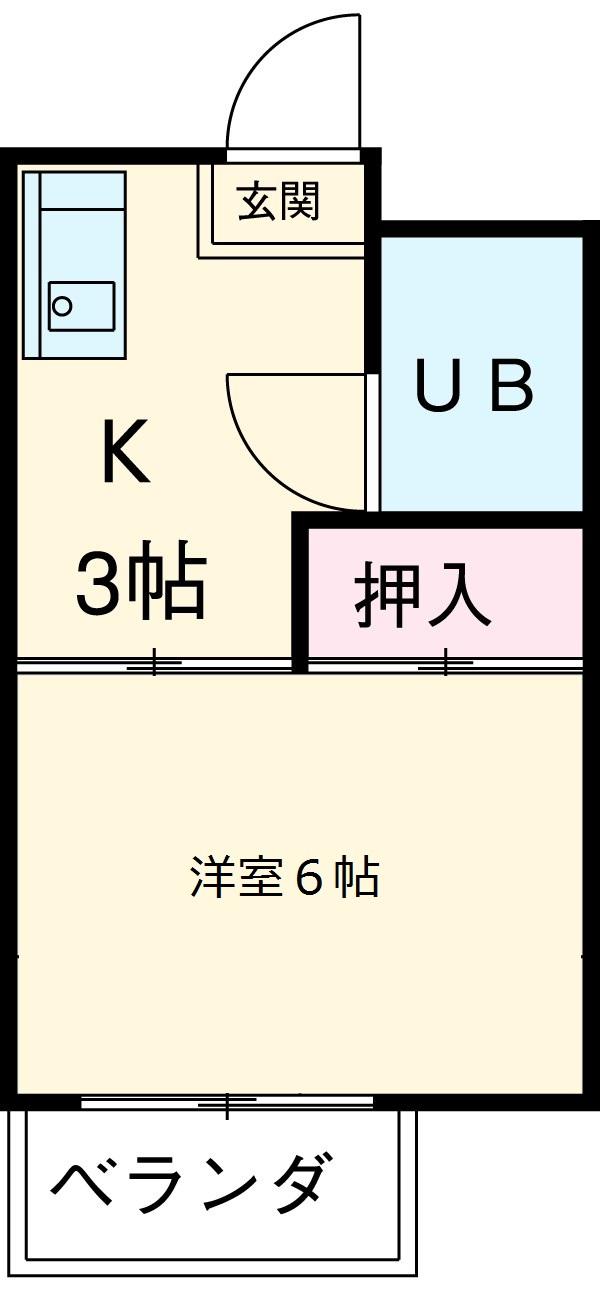 第2八神コーポB 105号室間取り図