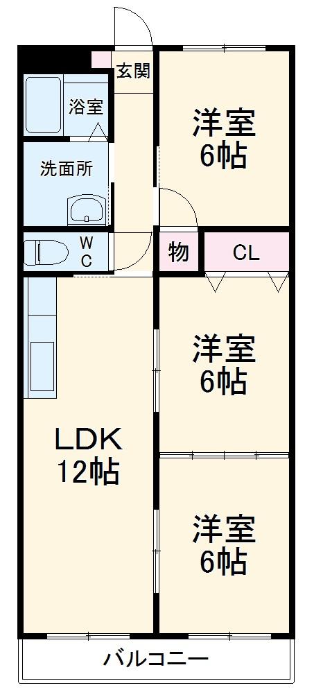 アパートメントハウス朴の樹 402号室の間取り