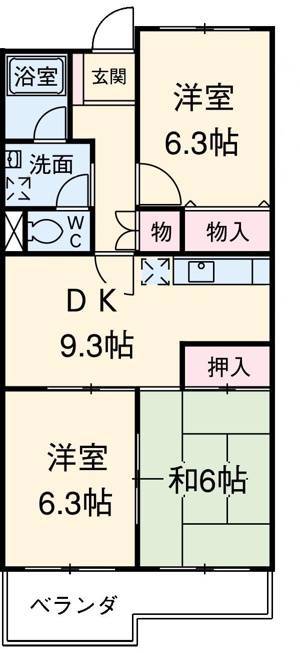 サンモール恋ヶ窪 102号室の間取り