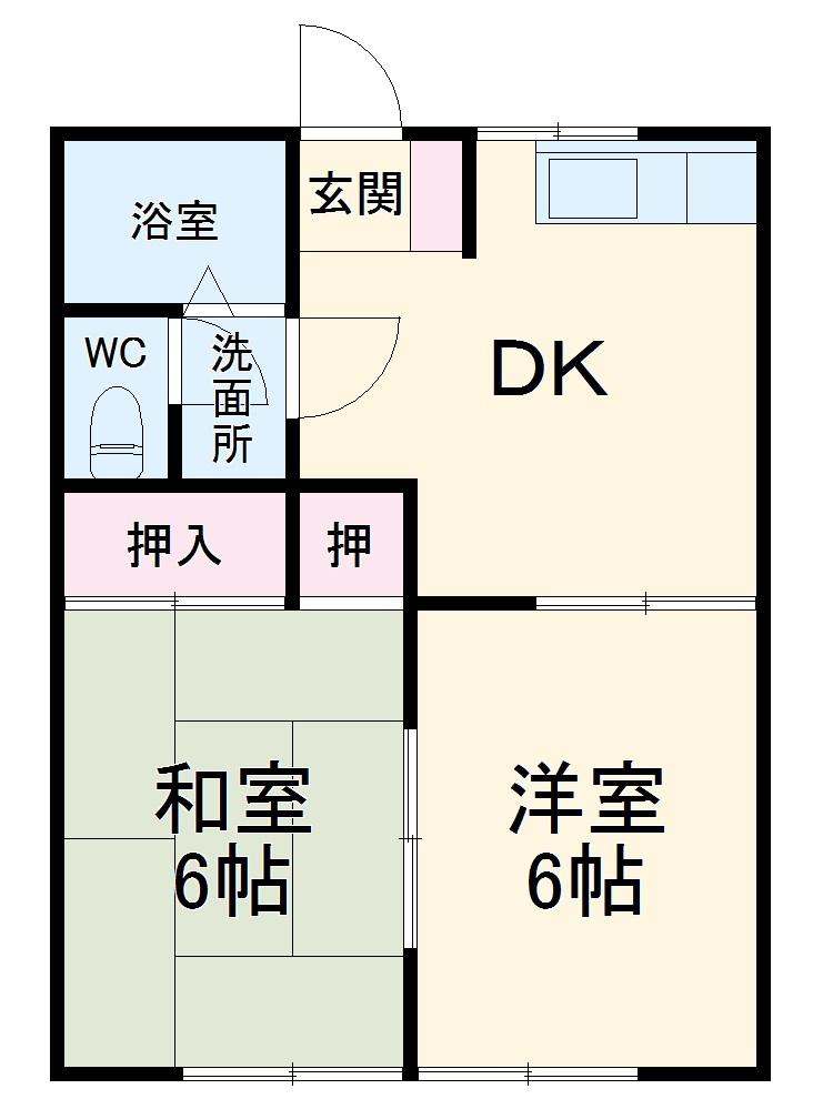 上飯田ドミール21 A 102号室の間取り