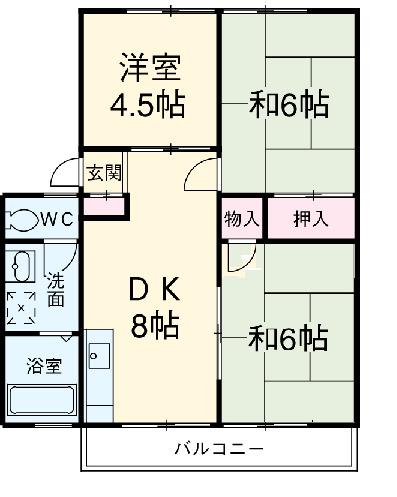 コズミックシティ宮沢第一B 202号室の間取り