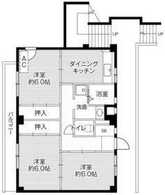 ビレッジハウス川井宿5号棟 404号室の間取り