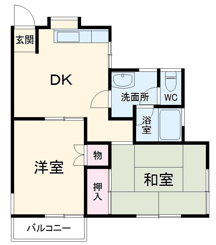 メゾンド角田Ⅱ 202号室の間取り