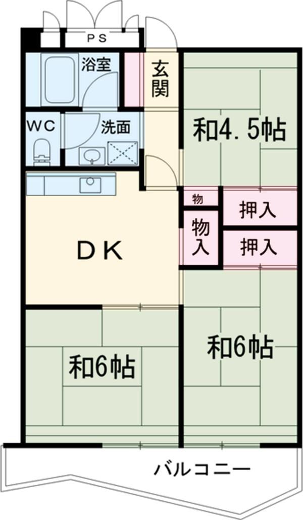 中駒九番団地 7号棟 1302号室の間取り