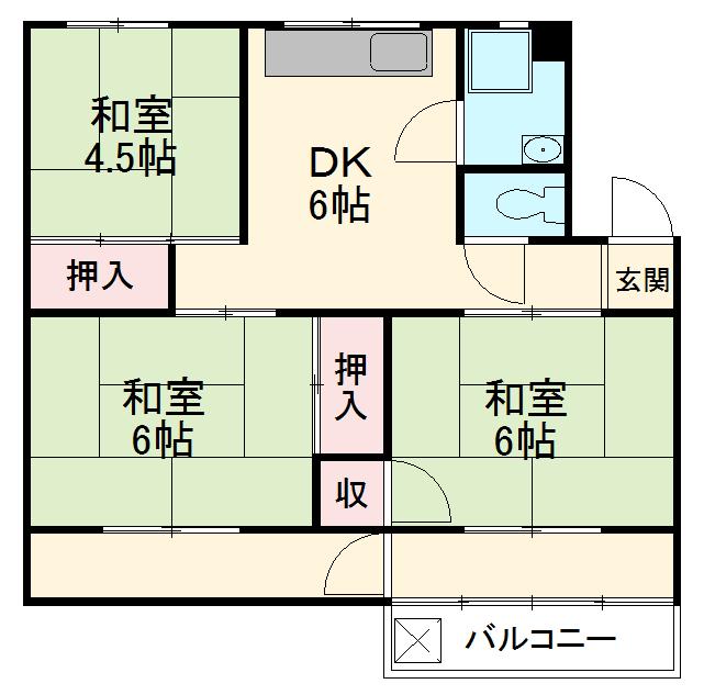 大森西住宅9号棟 103号室の間取り