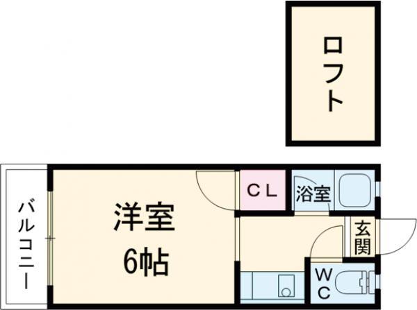 ウイング筥松 B105号室の間取り
