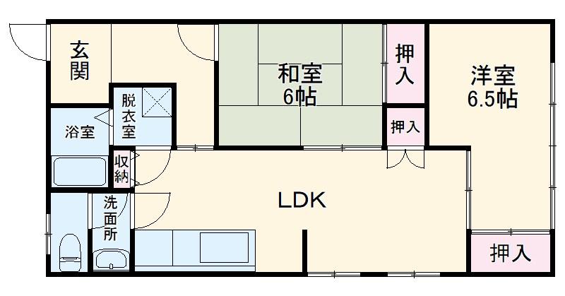 岩清水様アパート 2FS号室の間取り