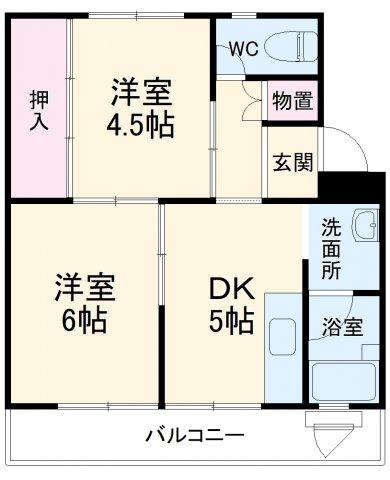 ビレッジハウス菊川1号棟 404号室の間取り