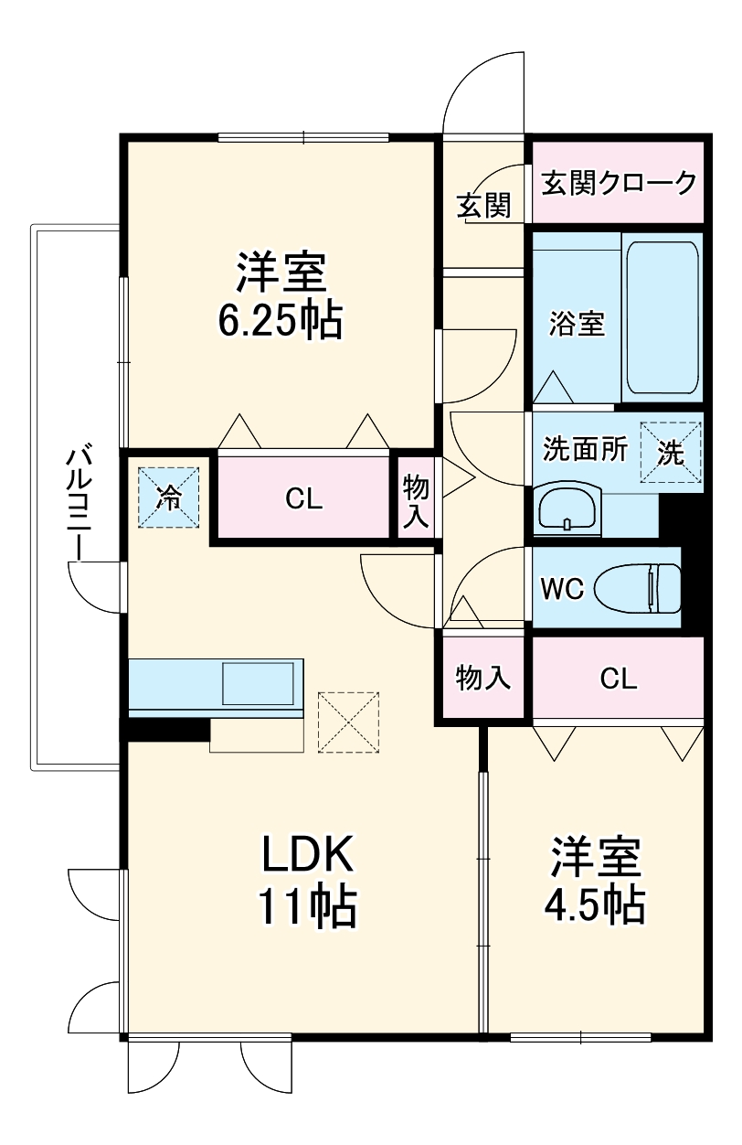 Famille Maebashi 105号室の間取り