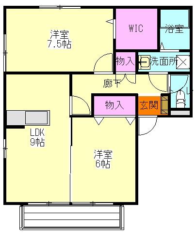 リリーハウスA 203号室間取り図
