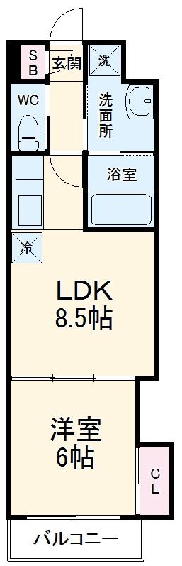 アドバンス京都西院パルティーレ 206号室の間取り