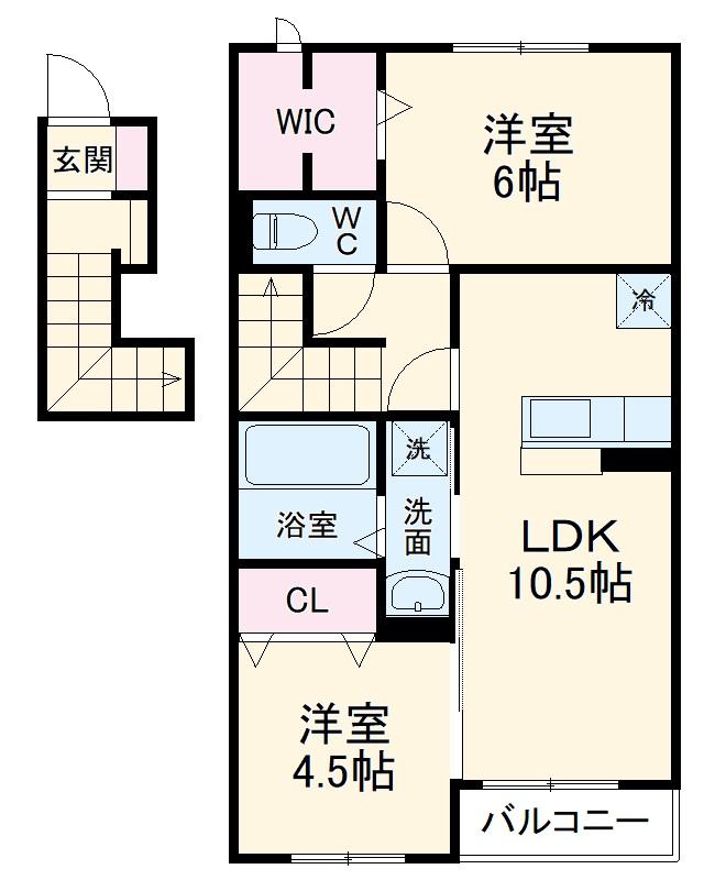 (仮)D-room梅郷 C 203号室の間取り