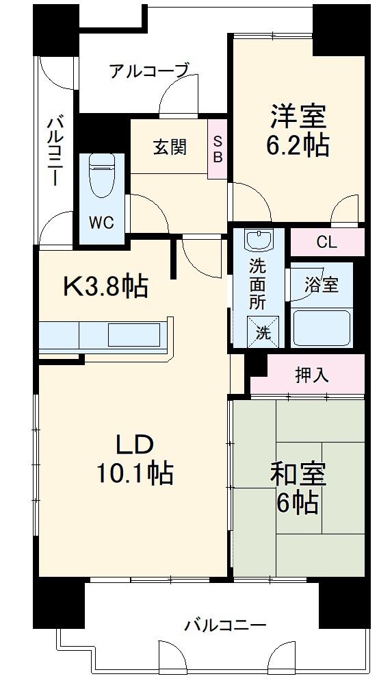 ライオンズマンション新都心 206号室の間取り
