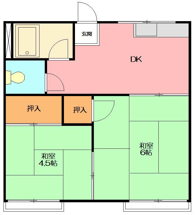 岸アパート 102号室の間取り