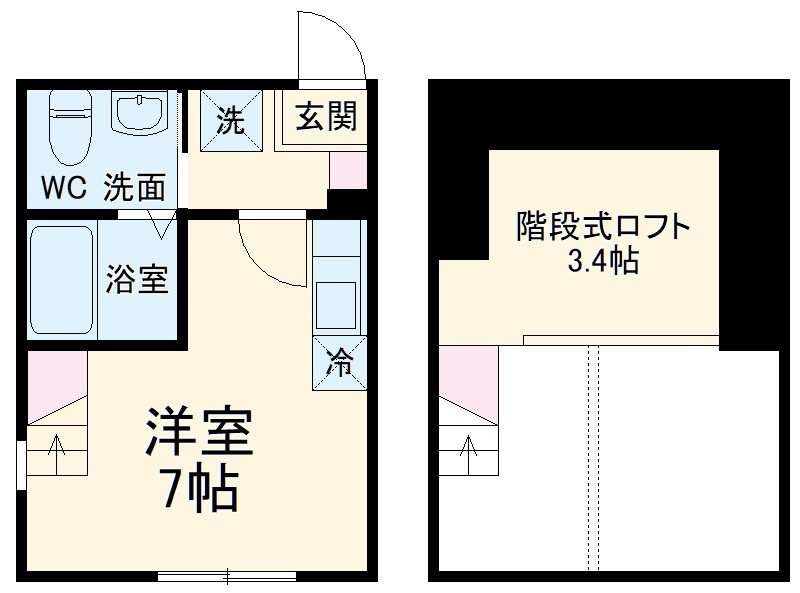 ハーミットクラブハウス戸塚矢部町A棟 203号室の間取り