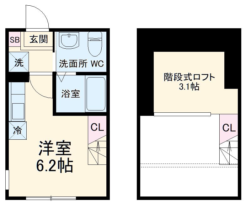 ハーミットクラブハウス戸塚矢部町B 101号室の間取り