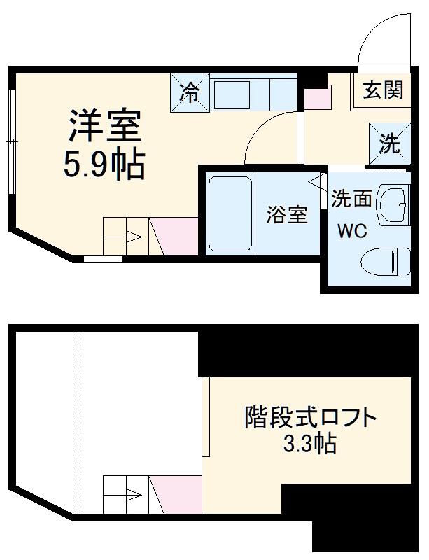 ハーミットクラブハウス戸塚矢部町B 202号室の間取り
