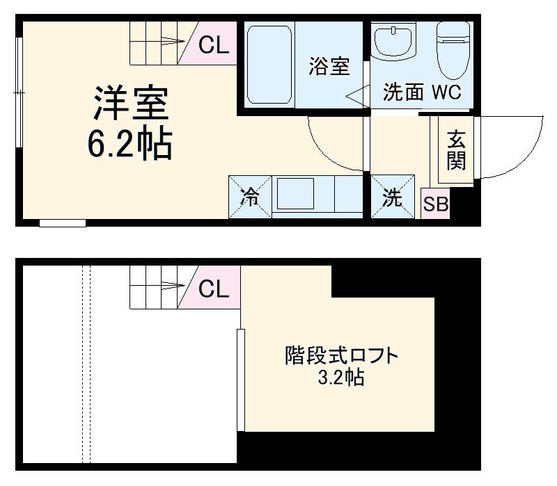 ハーミットクラブハウス戸塚矢部町B 203号室の間取り