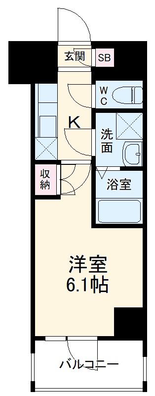 BANDOBASHI KNOTS 1102号室の間取り