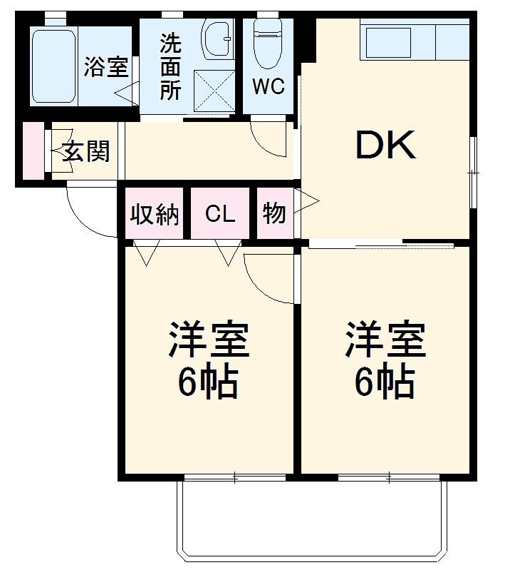 ロワール D棟 101号室間取り図