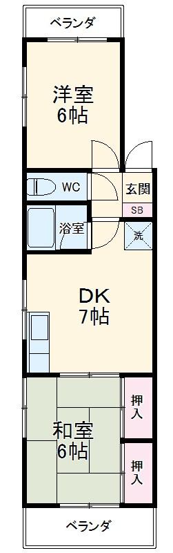スカイマンション 301号室の間取り