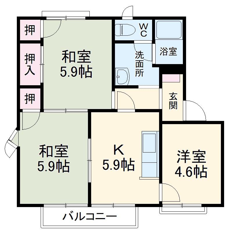 屋島フレグランス A棟 A201号室の間取り