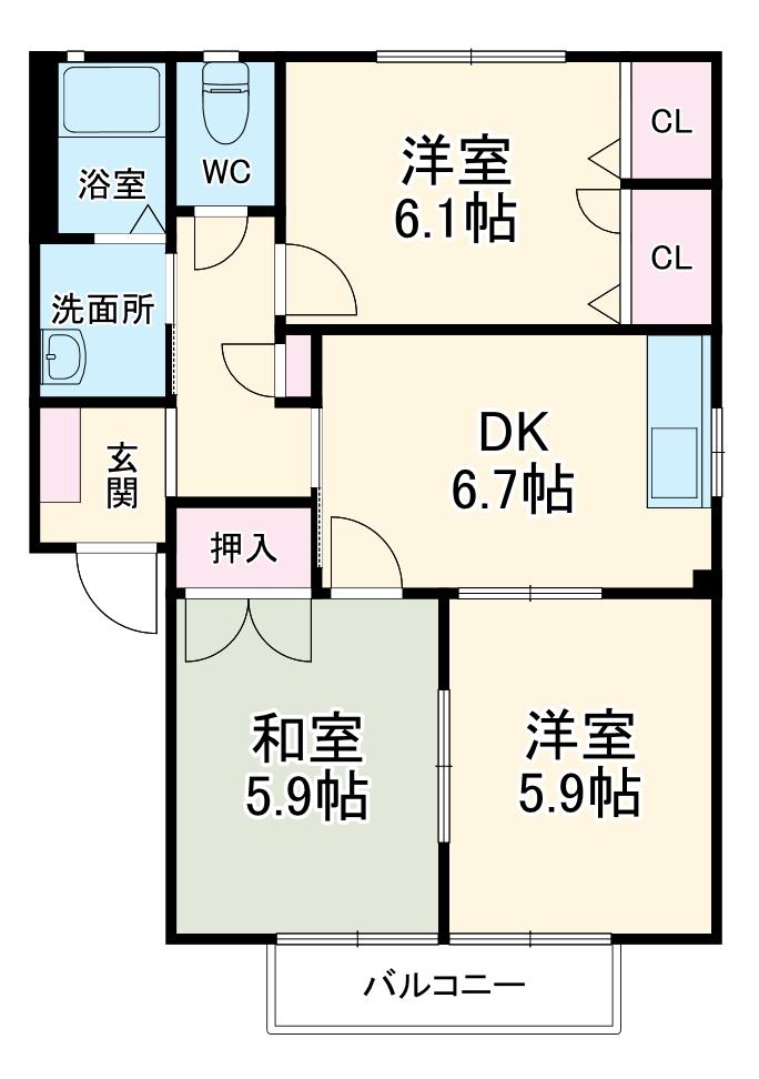 ジュネスTOSHI A棟 A102号室の間取り