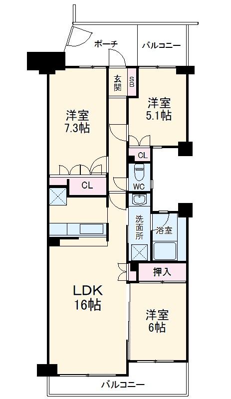 エステ・ヴィラ横浜上永谷センターコリーナ 206号室の間取り