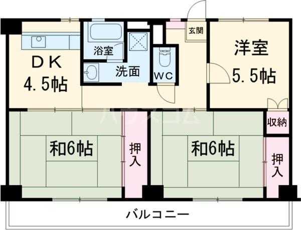 ビレッジハウス幸田6号棟 0105号室の間取り