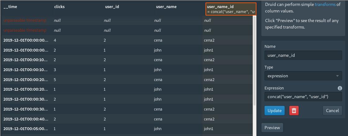 Apache Druid Console - Load data (transform) screen