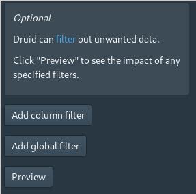 Apache Druid Console - Load data (filter) screen