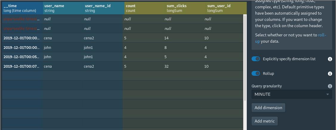 Apache Druid Console - Load data (Rollup granularity) screen
