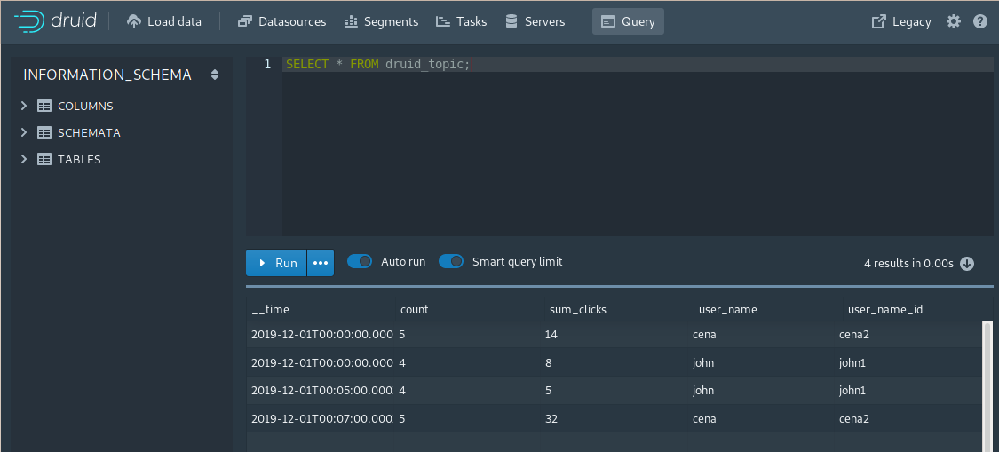 Apache Druid Console - Query screen with SQL