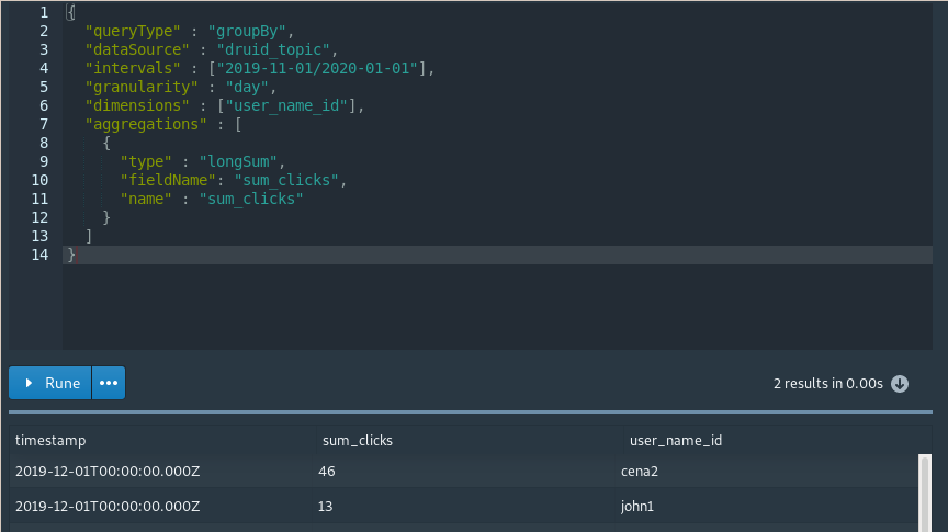 Apache Druid Console - Query screen with native JSON query
