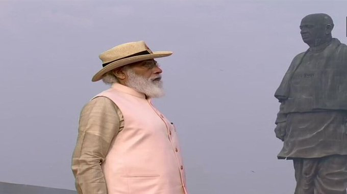 pm narendra modi pays tribute to sardar patel on his birth anniversary at the statue of unity on second day of gujarat visit