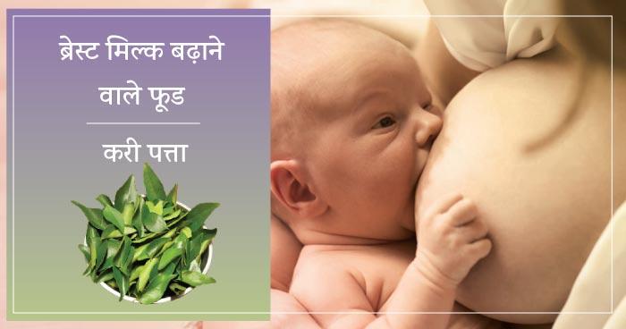 ब्रेस्ट मिल्क बढ़ाने वाले फूड : करी पत्ता (how to increase breast milk in hindi : curry leaves)