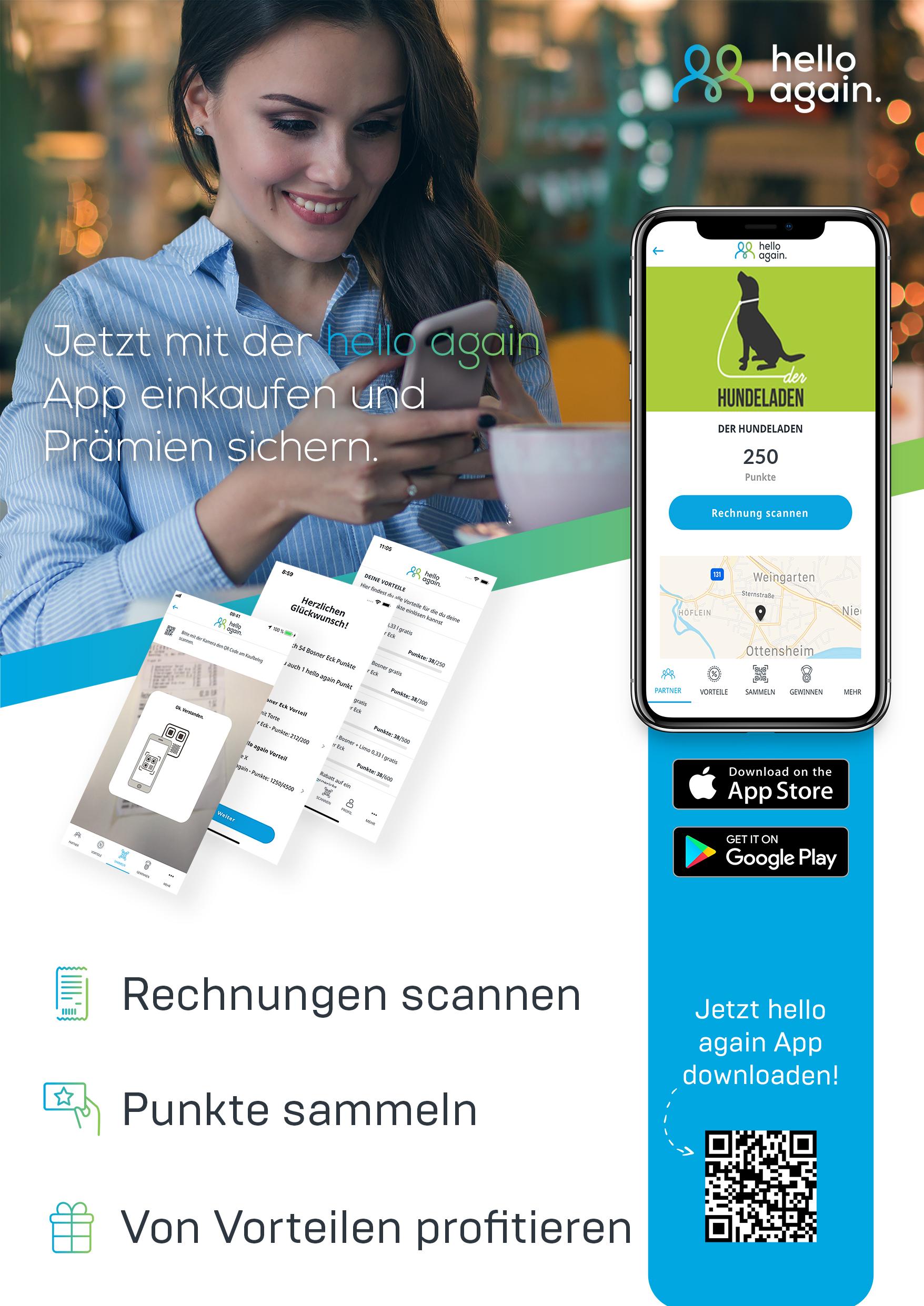 Das aktuelle hello again Plakat zur Bewerbung der neuen App