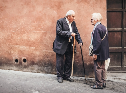 older couple having a conversation